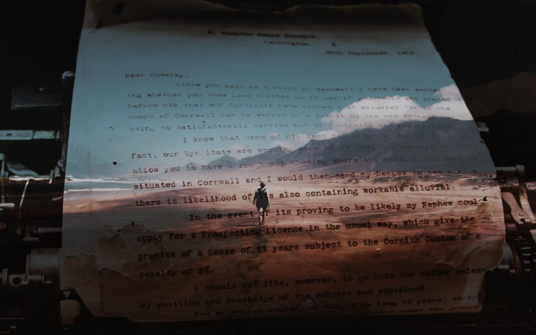 En skrivmaskinstext med en bild på en männsika som går