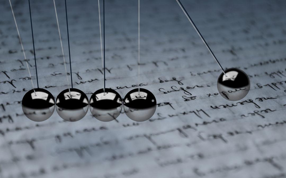"""en text ovanpå en bild av """"Newton bollar"""""""